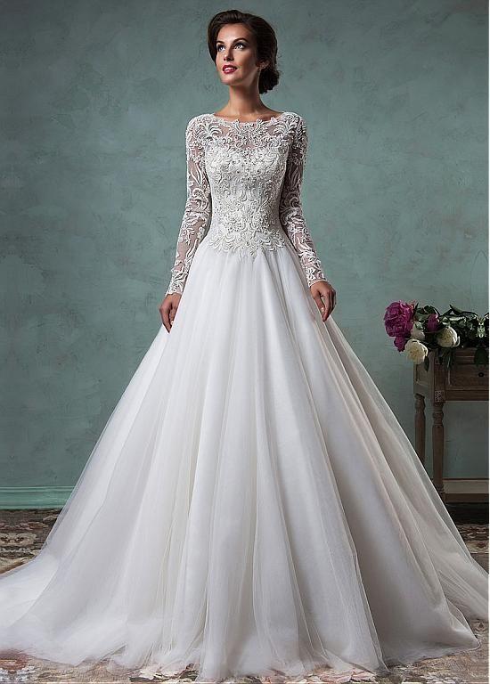 Gorgeous Tulle Bateau Neckline A-line Wedding Dresses with Beaded Lace Appliques