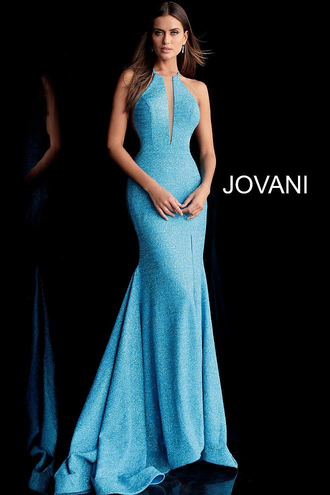 ea4e5293a67 Ocean Racer Back High Neck Glitter Prom Gown 67563 in 2019