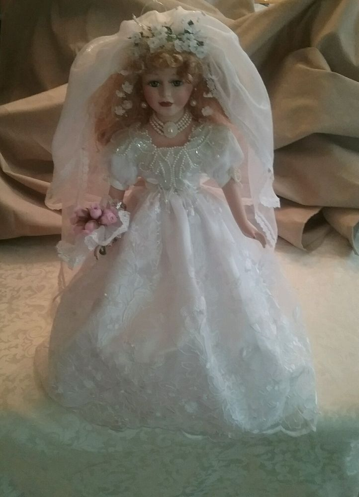 Butterfly Kisses Precious Collectibles Porcelain Bride Wedding Dress Doll 5 Braut