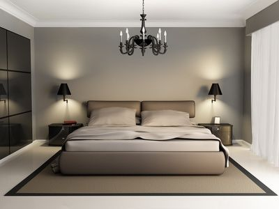 A soothing modern bedroom interior.
