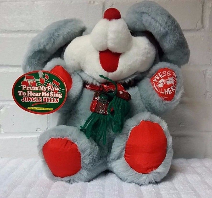 Gray Christmas Mouse Sing Jingle Bells Light Up Cheeks Stuffed