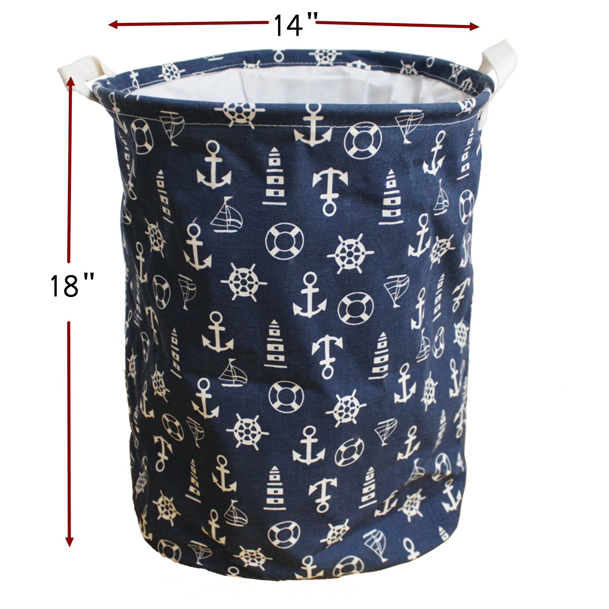 Clothes Storage Basket Toy Organizer With Handles Mediterranean Style For Bedrooms Nursery Closets By Orino Navy Blue Check Out This Great Product