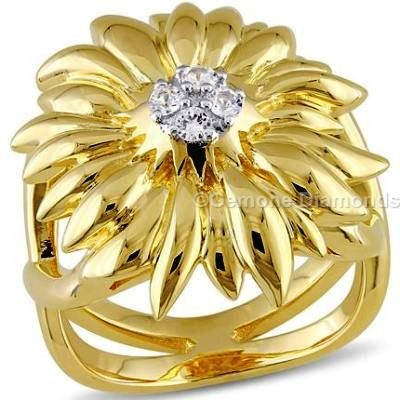 Yellow Gold Flower Ring With White Diamonds For Sale