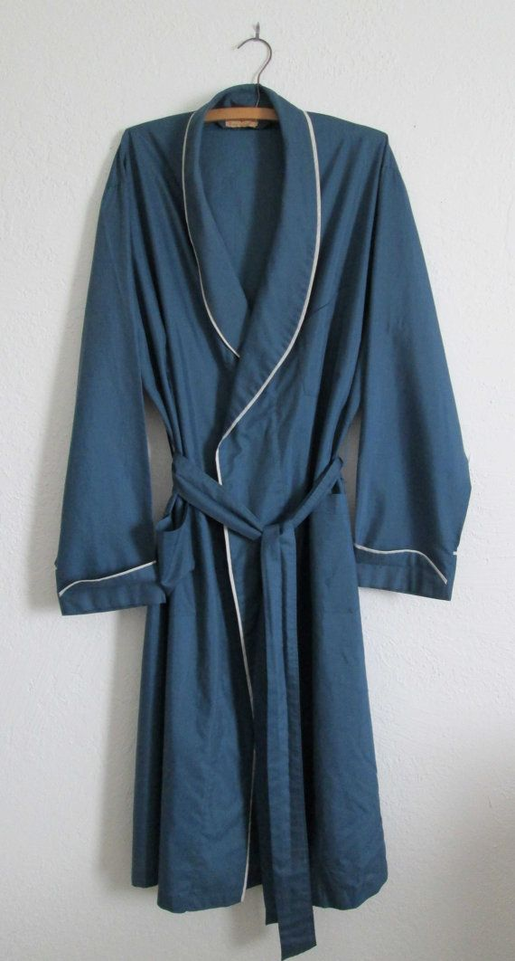 Vintage Lightweight Blue w/ White Piping Trim Men\'s Robe, $45.00 ...