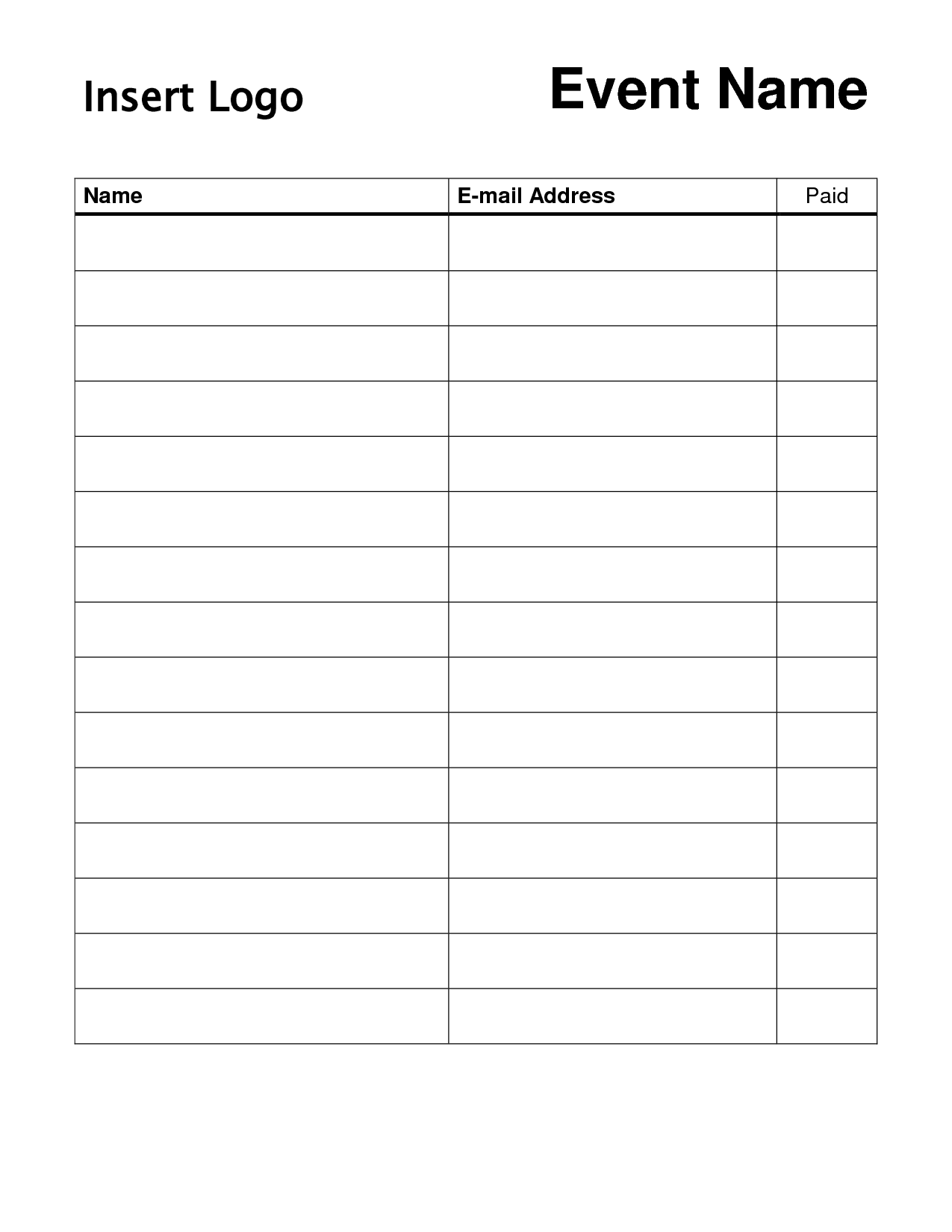 New Name Email Phone Number Sign Up Sheet #exceltemplate