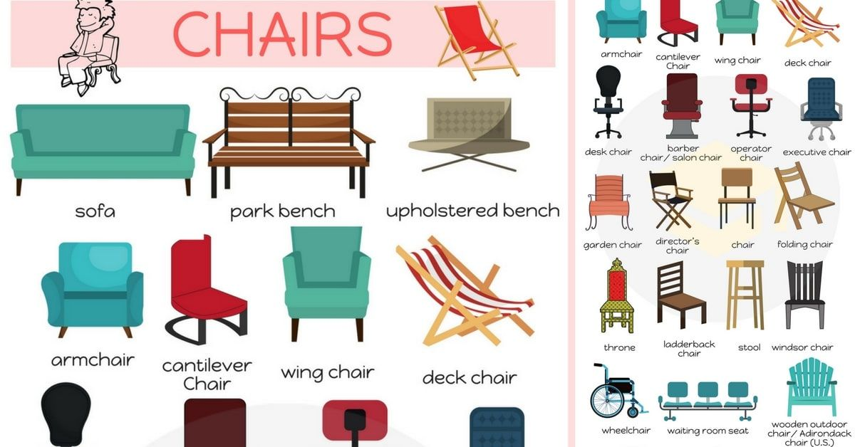 Types Of Chairs List Of Chair Styles With Names 7 E S L Learn English English Vocabulary English Idioms