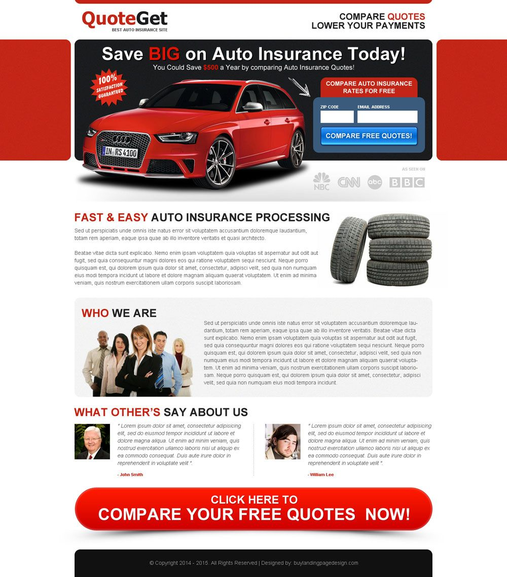 Save Big Money On Auto Insurance Today Zip Capture Landing Page
