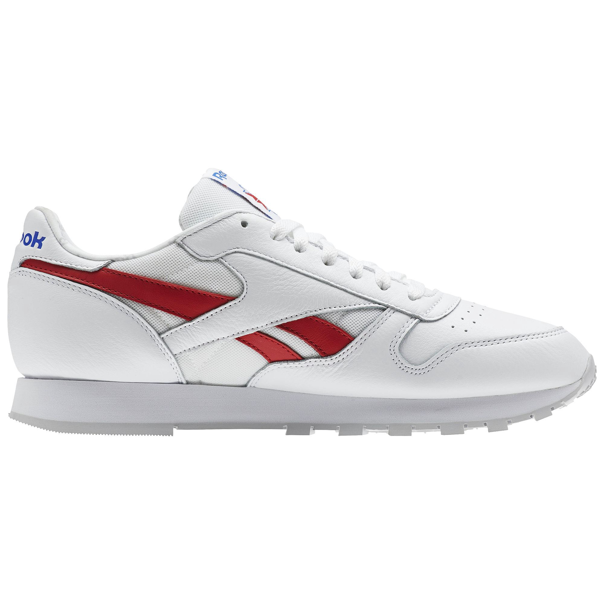b18a0a730e0 Reebok Classic Leather So - White   Vital Blue Primal Red Light Grey  Heather Solid 10.5