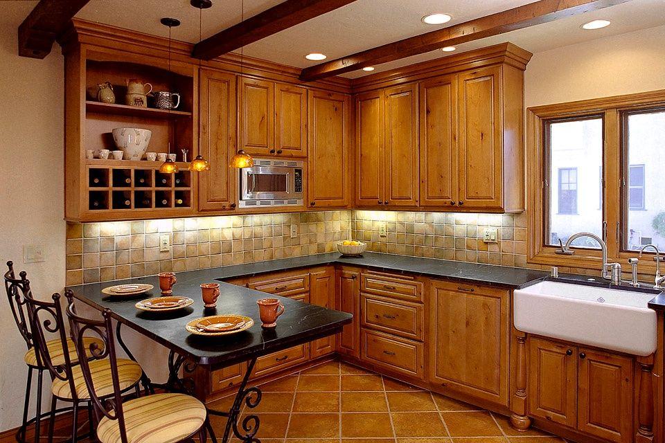 Eclectic Kitchen With Slate Tile Floors Stone Tile U