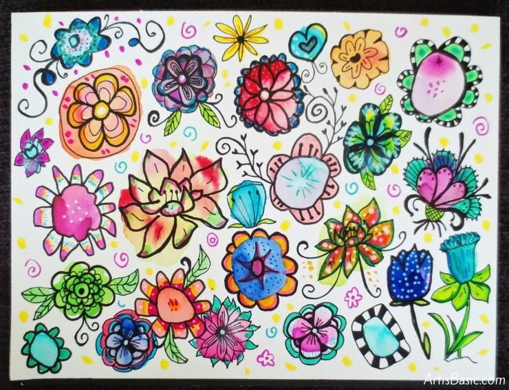 Easy and Fun Watercolor Flower Doodles