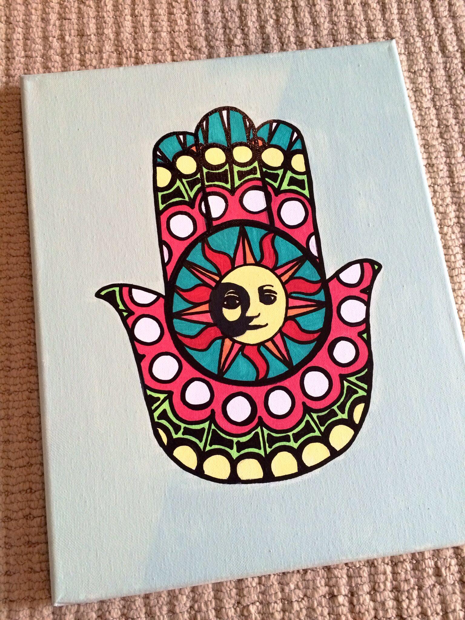 Hamsa Hand Canvas Painting