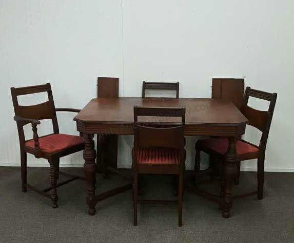 C1930 Myers Spalti Walnut Dining Table 4 Chairs