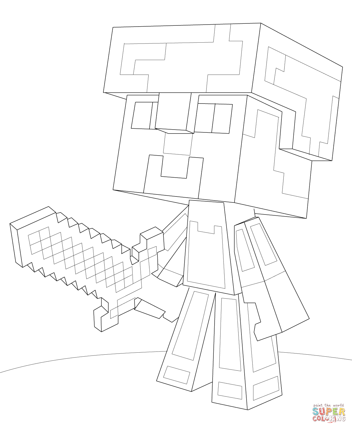 Minecraft Steve Diamond Armor Coloring Page From Minecraft Category