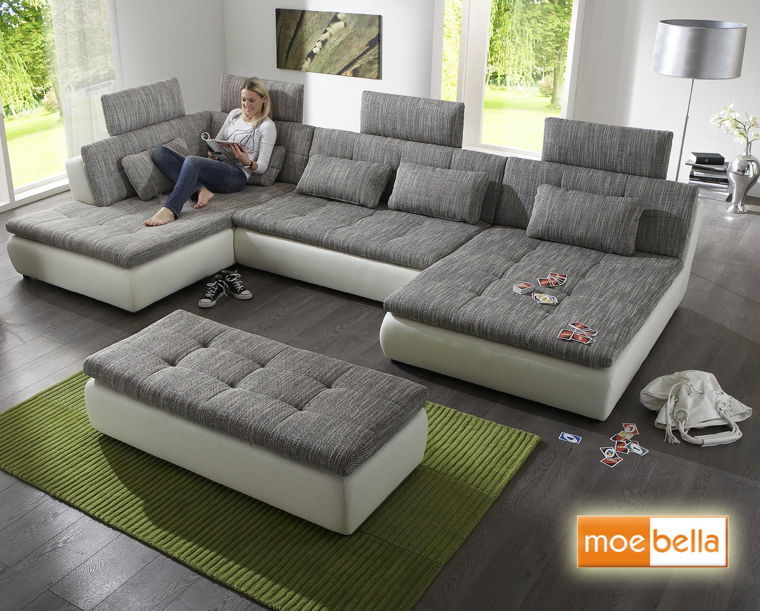 Wohnlandschaft Sofa Free Mit Schlaffunktion Und 4x Kopfststzen Ecksofa Leder Schlafsofa Schlafcou In 2020 Modern Furniture Living Room Sofa Design Living Room Sofa Set
