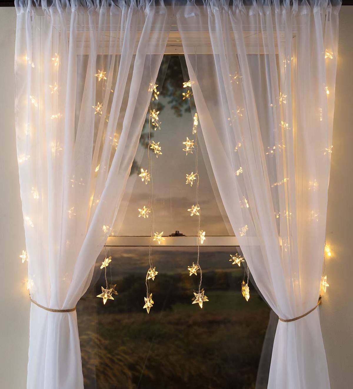 Electric Star Curtain Lights On Clear Wire 64 Lights 42 L