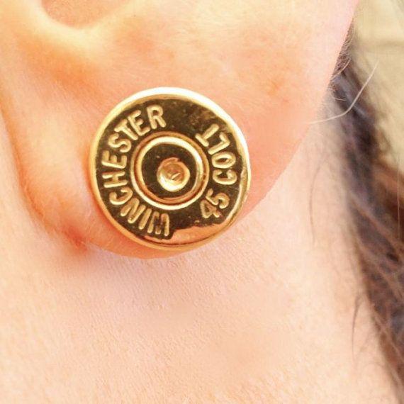 Bullet+Cap+Earrings++45+Colt+by+LOVERbyCG+on+Etsy,+$80.00