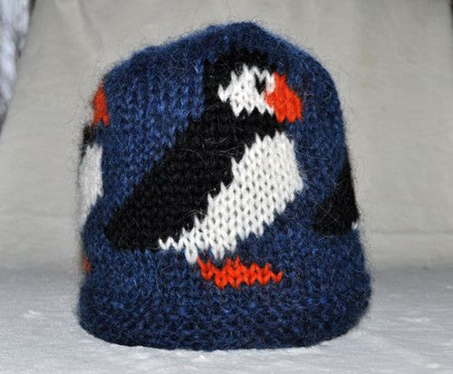 Blue Atlantic Puffin Hand Knitted Woolen Hat Out Of 100 Icelandic