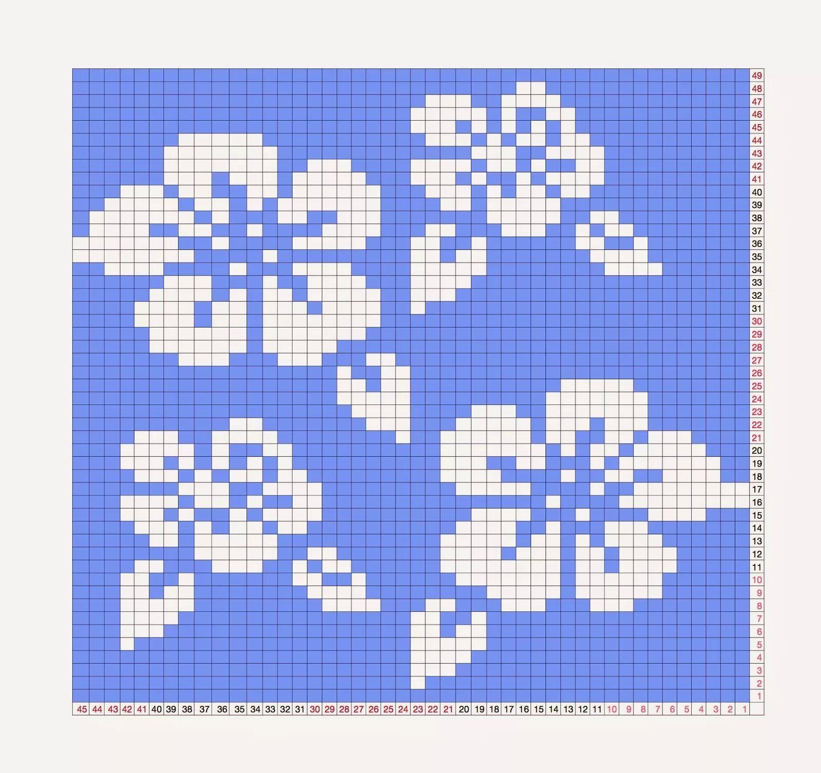 может схемы картинок с цветами для вязания спицами работаете