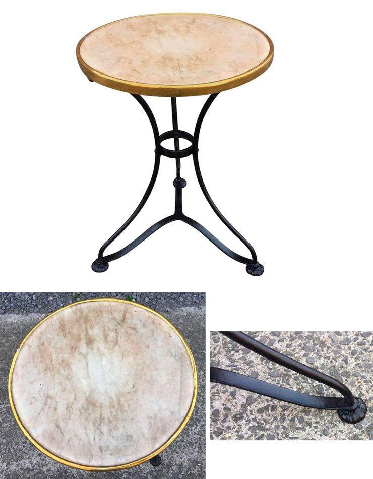 ancien gu ridon de bistrot vers 1900 en fer forg marbre et laiton tables et gu ridons art. Black Bedroom Furniture Sets. Home Design Ideas