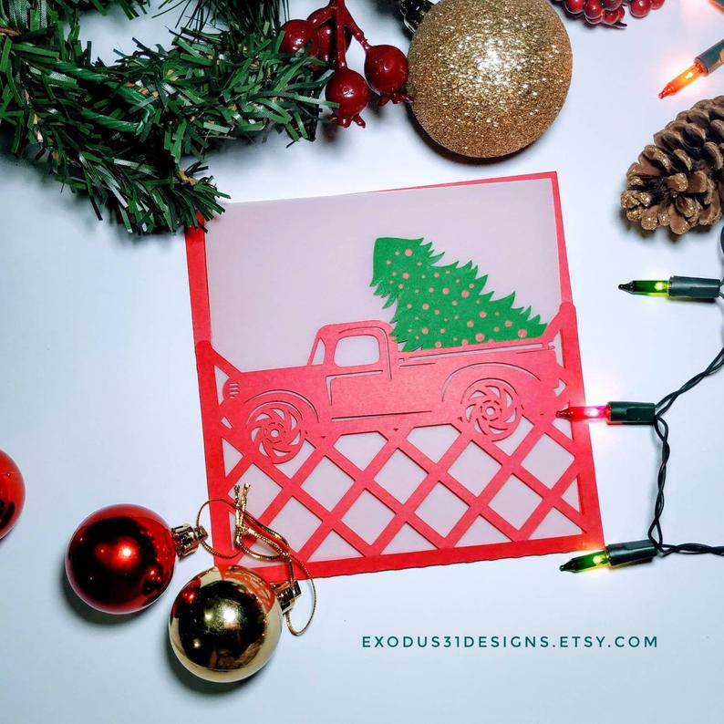 Svg Files Templates Christmas Card Truck Tree Cricut Etsy Christmas Card Template Christmas Templates Diy Christmas Cards Cricut
