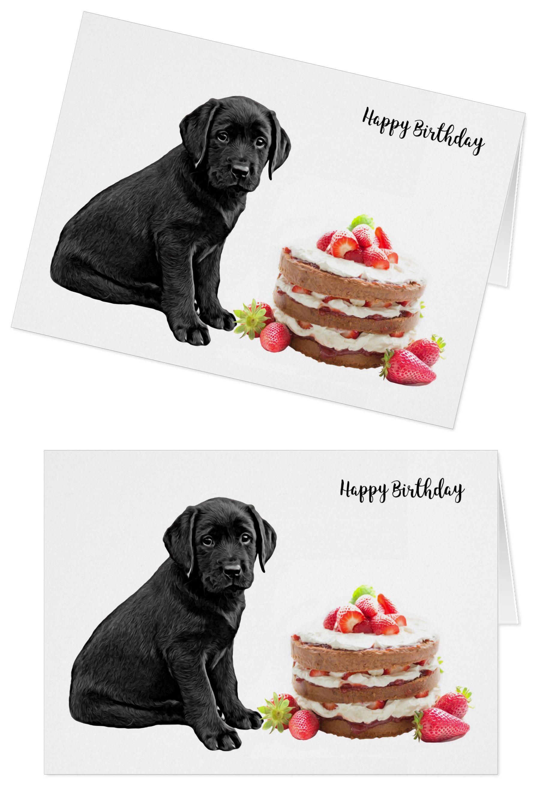 Black Lab Birthday Card Dog Cake Birthday Zazzle Com Dog Birthday Card Happy Birthday Dog Dog Cards