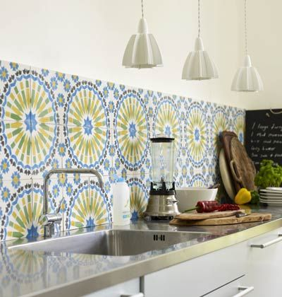 Yellow And Blue Moroccan Tile Backsplash Colorful Kitchen