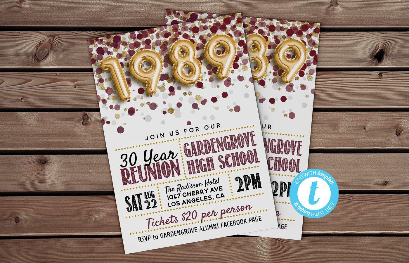 Class of 1989 reunion template high school reunion 30