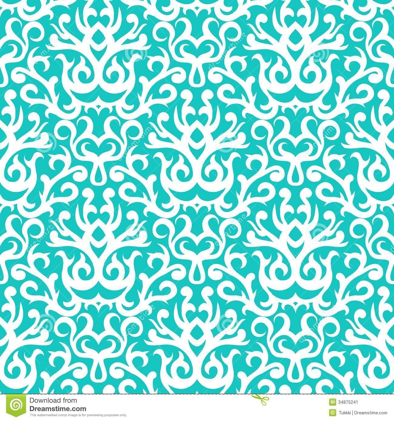 Damask Pattern In White On Turquoise Download From Over