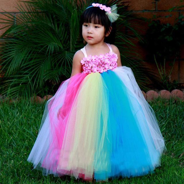 Handmade Rainbow Flower Girl Dress Wedding Bridesmaid Photo Props ...