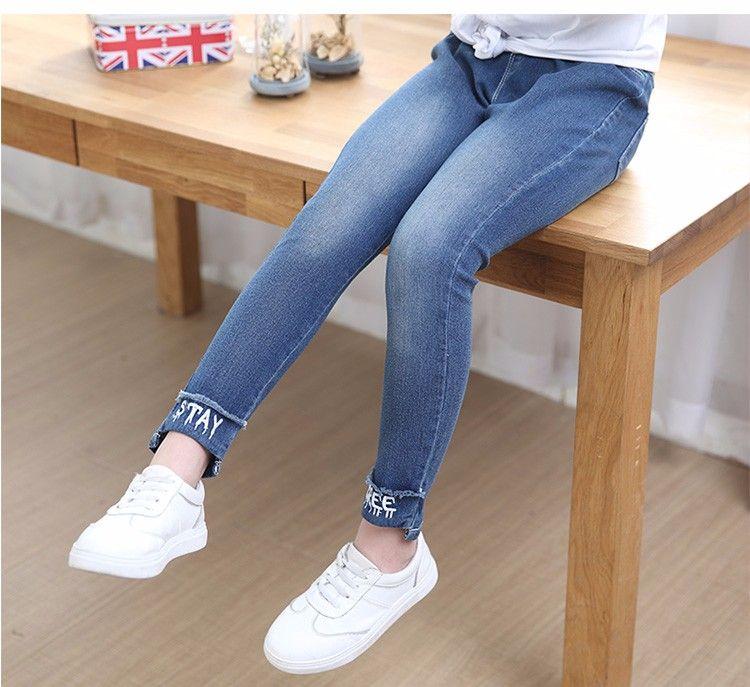 50545f45b77aa F66010# 2017 Fashion Girls'jeans Latest Elastic Soft Fit Skinny Cat  Embroidery Kids Jeans