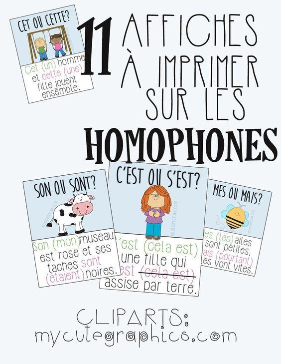 Affiches sur les homophones 11 affiches à imprimer | Les ...