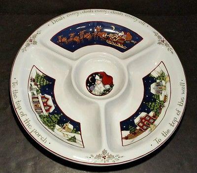 Portmeirion A Christmas Story Chip N Dip Plate Susan Winget Santa ...