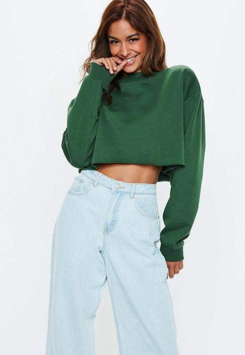 c6981a107fa Missguided Green Cropped Sweatshirt in 2019   Products   Green ...