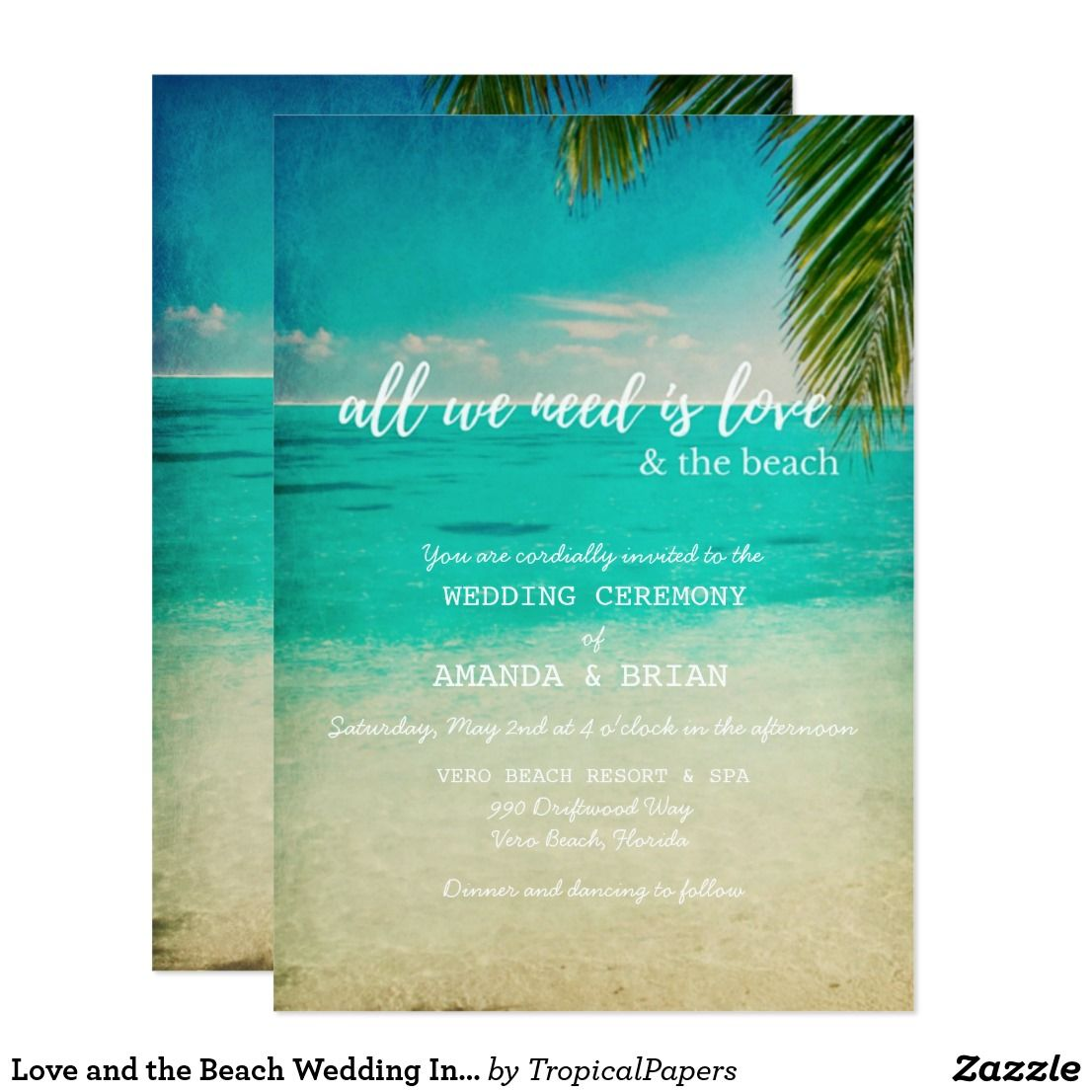 Love And The Beach Wedding Invitation Wedding Beach Pinterest