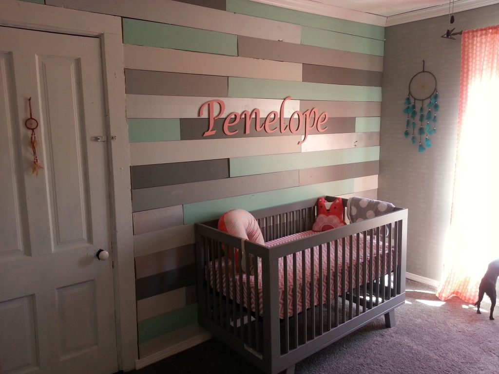 Coral and Mint Arrow Theme Girls Nursery | Woods, Gray and Walls