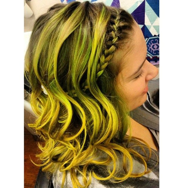 Dark Black Hair With Yellow Dyed Streaks Amazing Highlights Color