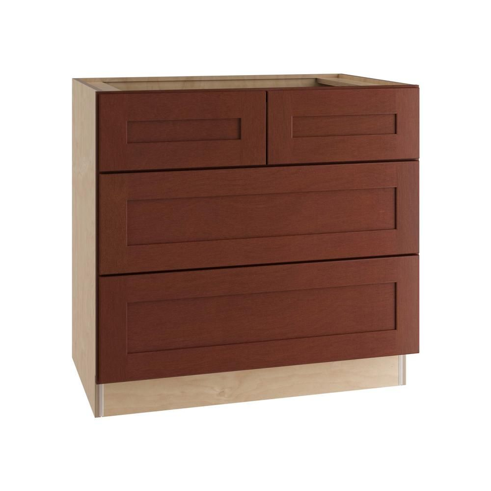 Home Decorators Collection Kingsbridge Assembled 36x34 5x24 In Double False Front And 2 Deep Drawers Base Kitchen Cooktop Cabinet In Cabernet Staining Cabinets Adjustable Shelving Decor