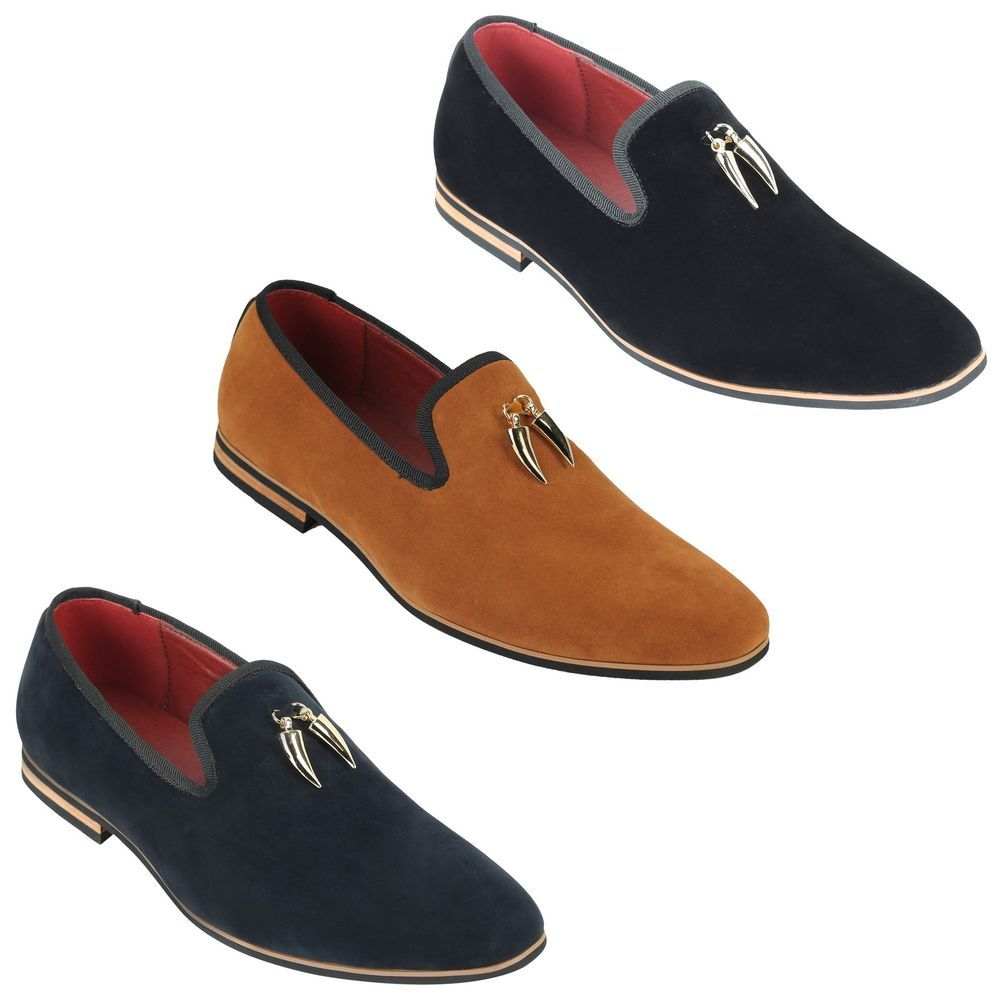 New Mens Synthetic Leather Slip On Loafer Driving Shoes Gold Shoes