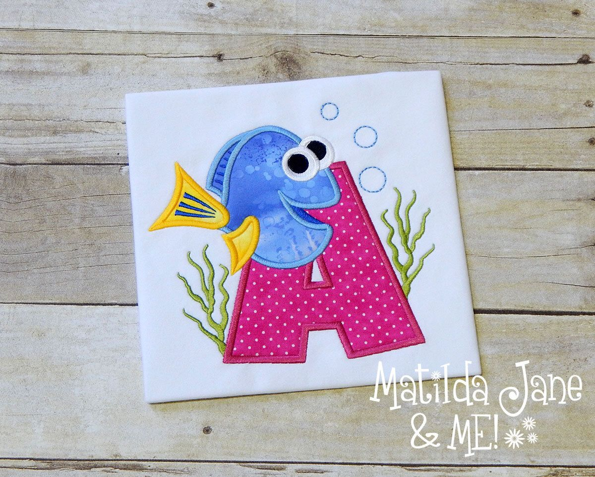 Dory the Fish Themed Appliqued Children's Shirt, Finding Dory Boys or Girls Letter Appliqued Shirt, Personalized Free,Birthday Party Shirt by ThePerfectWallet on Etsy https://www.etsy.com/listing/397931039/dory-the-fish-themed-appliqued-childrens