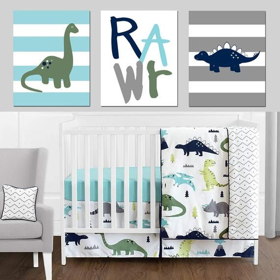 Dino Nursery Decor Dinosaur Wall Decor, Dinosaur Nursery Decor, Dinosaur Wall Art, Modern Dinosaur Decor Set of 3 Dinosaur CANVAS OR PRINTS