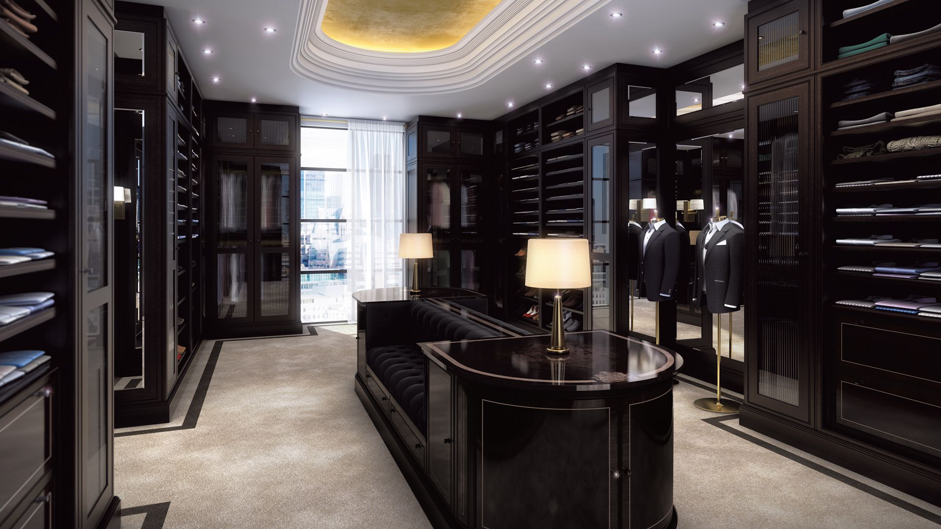 Prestigeous Walk In Closet Clean Lines With An Inclusion