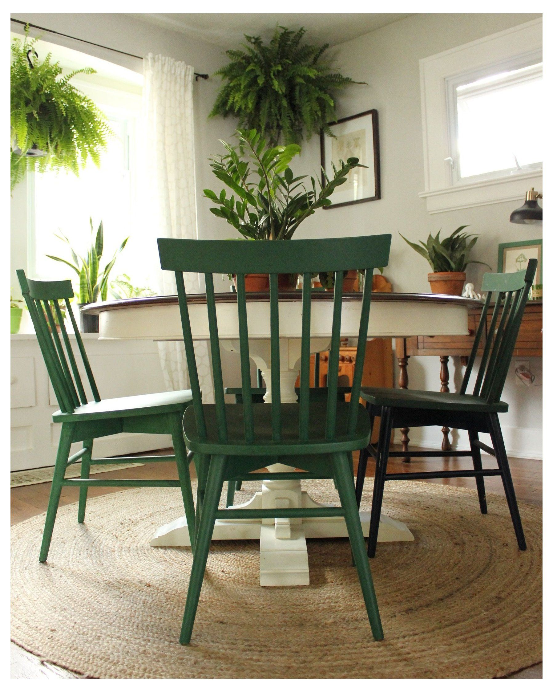 Green Painted Chairs Chairs Painted In A Mixture Of Annie Sloan Chalk Paint In Amsterdam Gr Green Dining Chairs Painted Dining Chairs Upcycled Dining Chairs