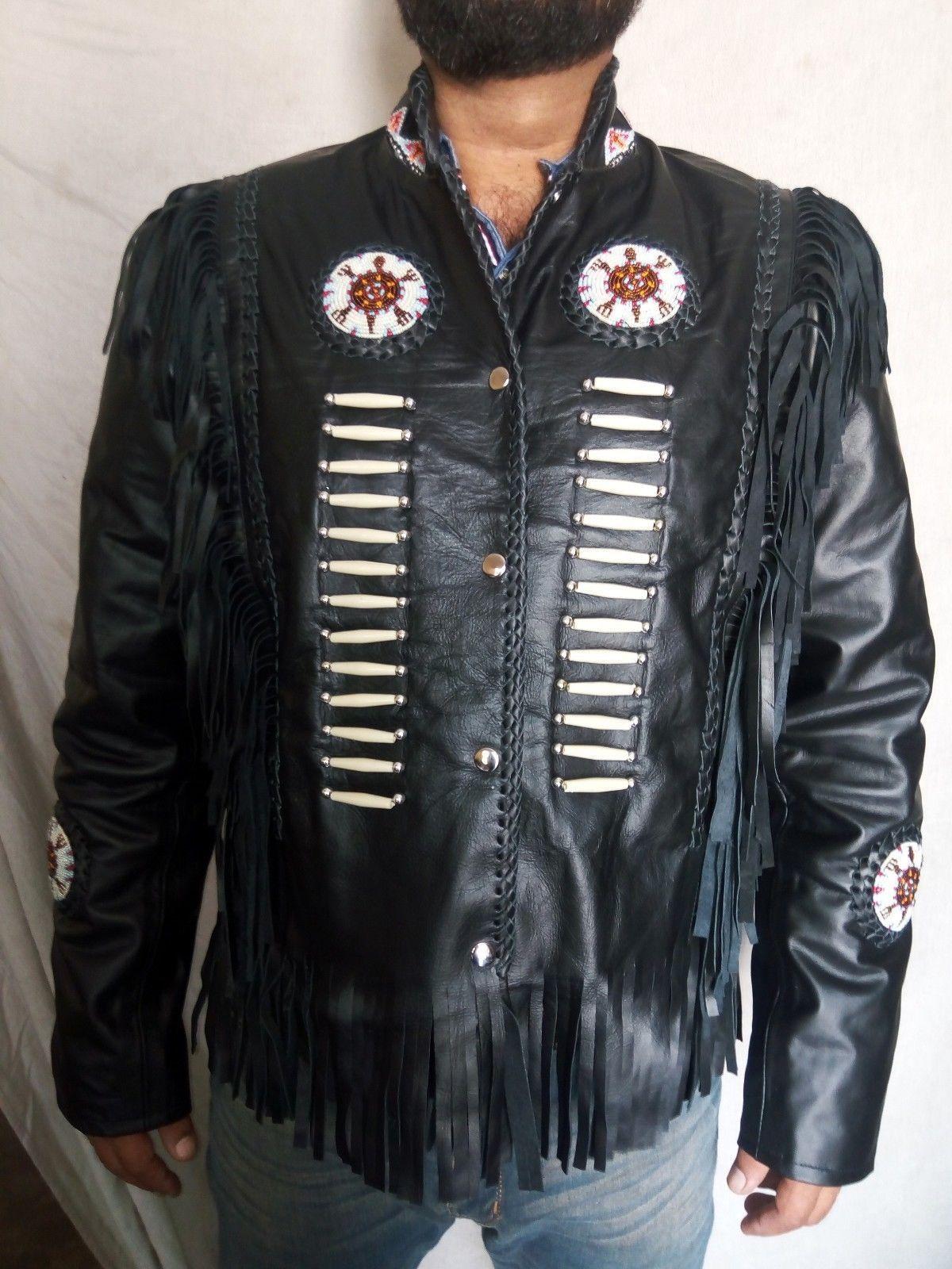 Handmade Western Black Native America Leather Jacket Fringe Beads Bones Jacket Outerwear Kleding Westerns [ 1600 x 1200 Pixel ]