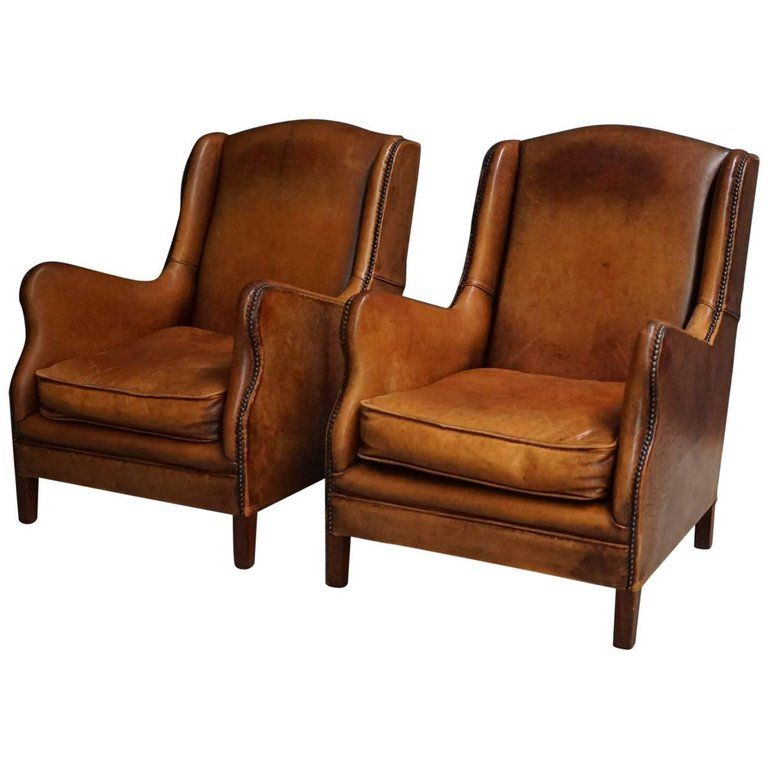 Best Pair Of Vintage Cognac Leather Club Chairs 1 Leather 640 x 480