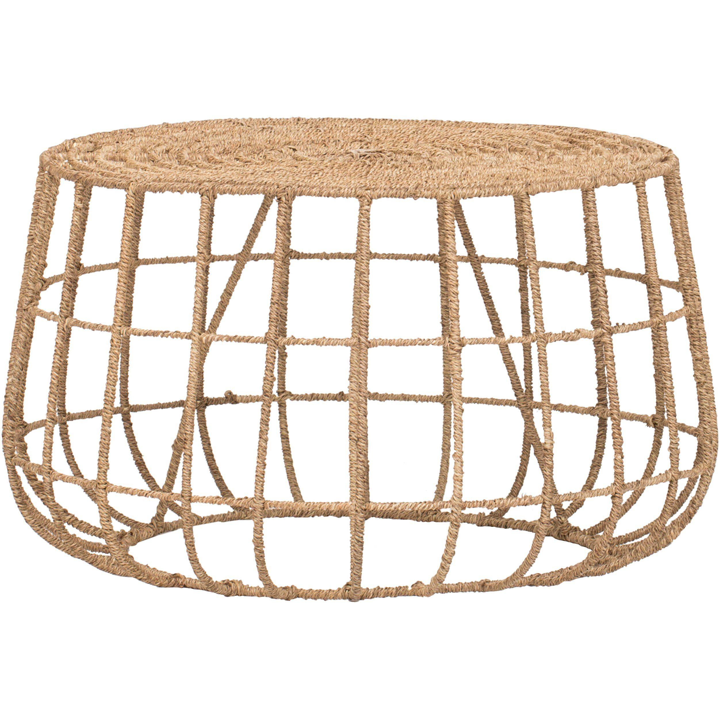 Jute Cocktail Table Table Ottoman In Living Room Modern Coffee