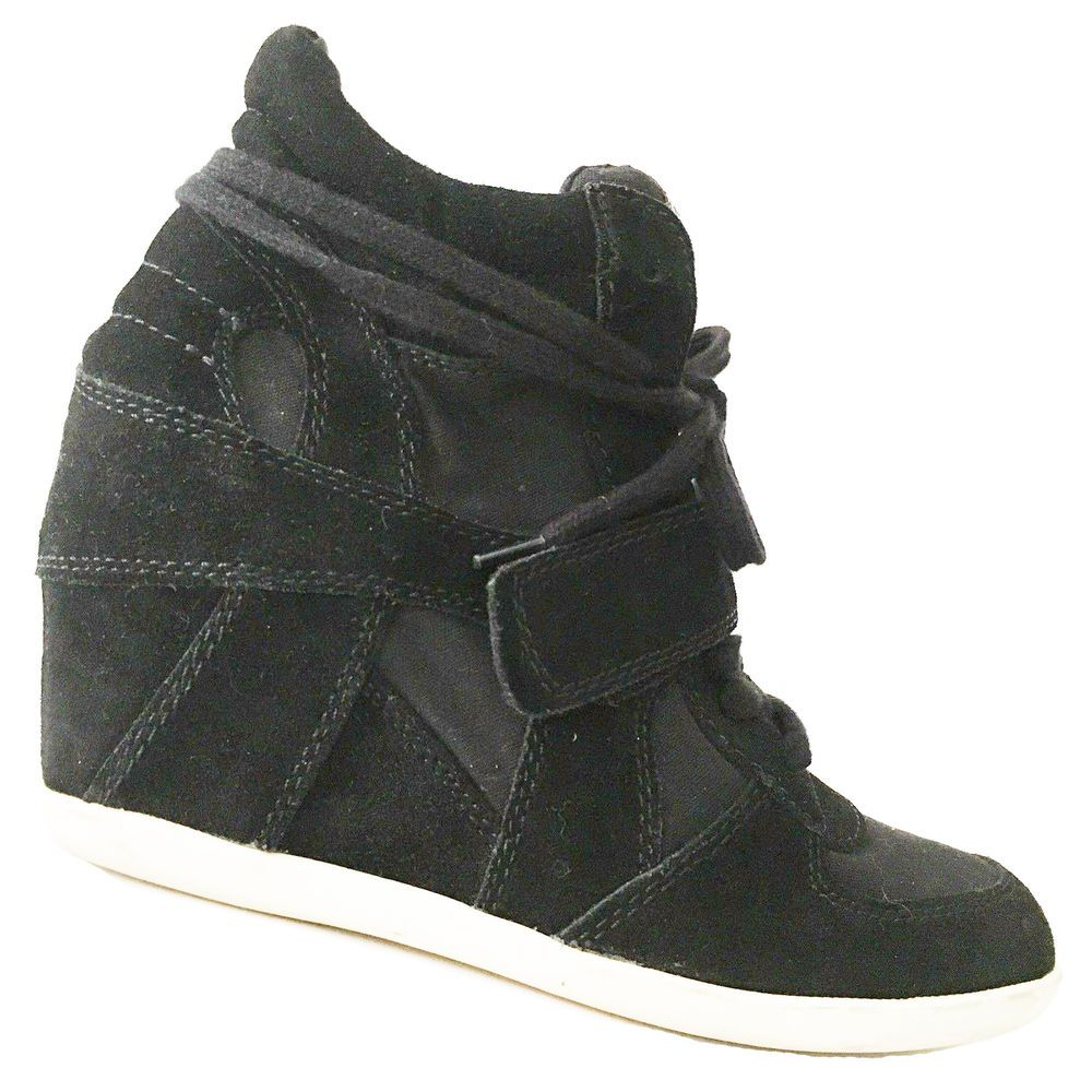cb193ac6366c ASH Bowie High Top Hi Wedge Sneaker Black Suede Trainer Booties Ankle Boot  38 7