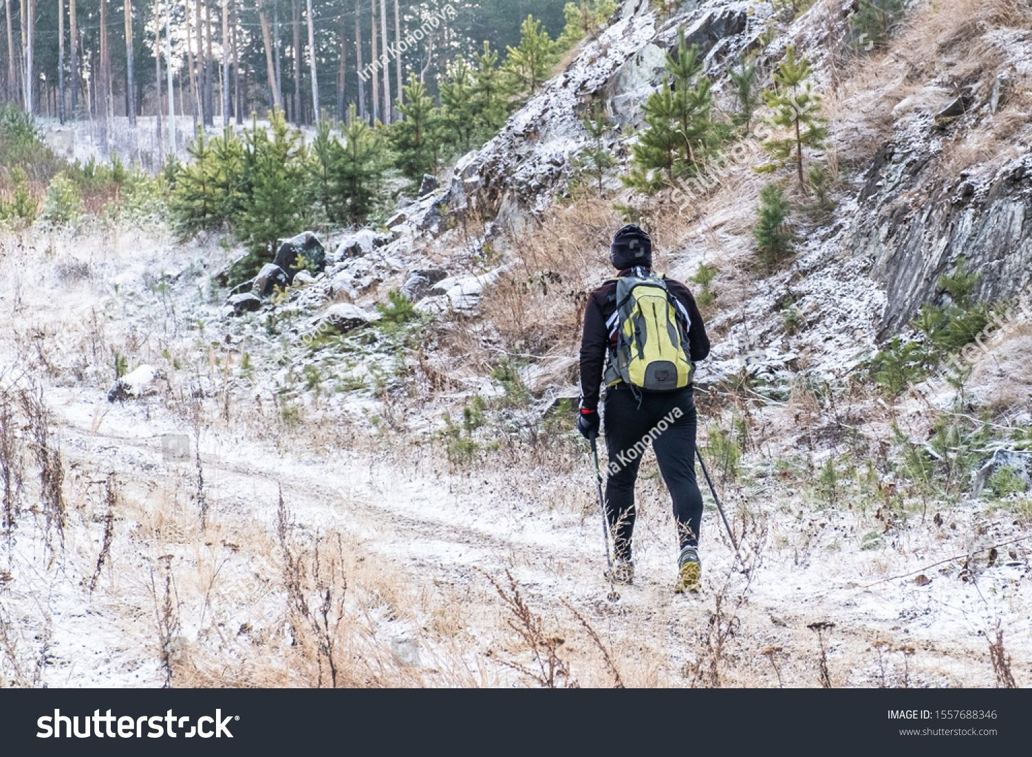 A Man With A Backpack With Scandinavian Walking Sticks In A Sports Black Suit And Sneakers Goes Uphill Through The Suits And Sneakers Backpacks Walking Sticks