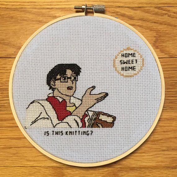 pdf pattern  is this knitting meme cross stitch  cross