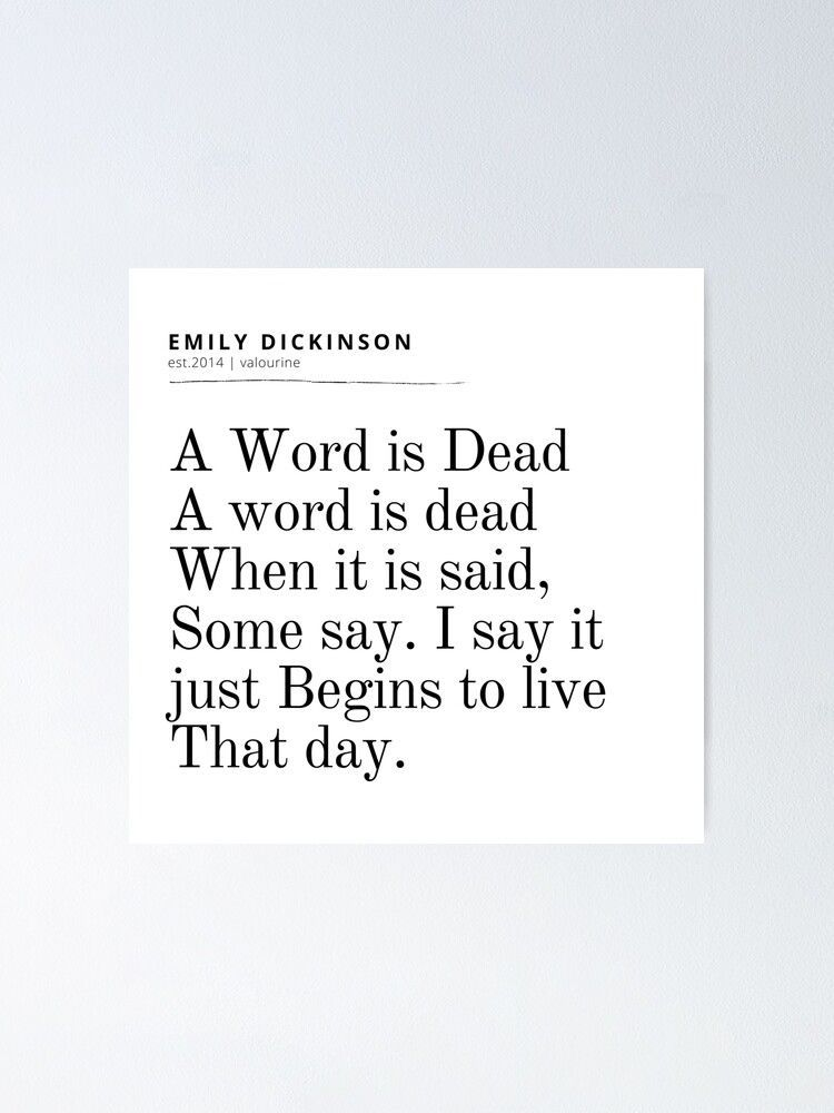 9  | Emily Dickinson Quote | 200926 |  Literary Literature Famous Female Writer Poster by valourine