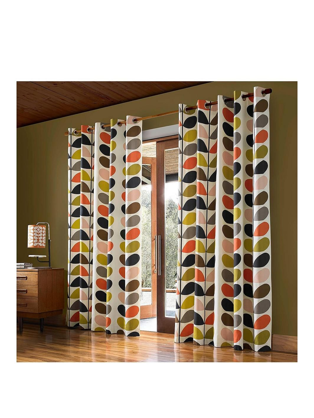 Linear Stem Lined Eyelet Curtains Curtains Multicoloured Curtains Orla Kiely